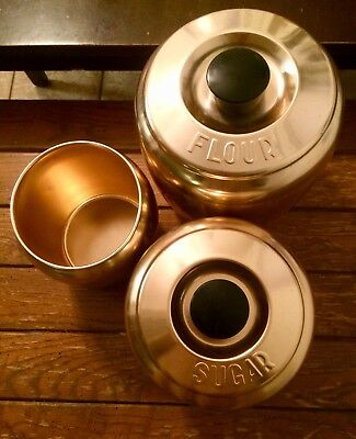 Vintage Kromex Spun Aluminum Copper-Tone Canister Set Of 3 - Not Original Lids