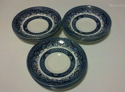 Churchill Staffordshire Fine English Tableware Saucer Plate Blue Willow (10)