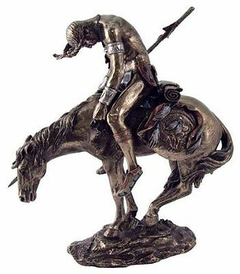"""End of the Trail Native American Warrior Indian Sculpture Statue NEW (1760) 7.5"""""""