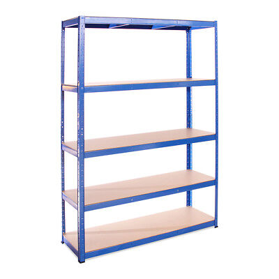 5 Tier Blue Wide Metal Shelving Racking Unit 180 x 120 x 40cm Garage Warehouse