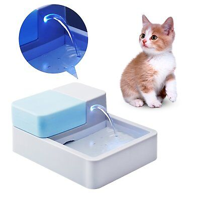 Homdox Automatic Pet Water Fountain Drinking Bowl With LED Light for Pets NEW