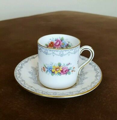 Shelley China Crochet 13302 Mocha  Demitasse  cup and saucer