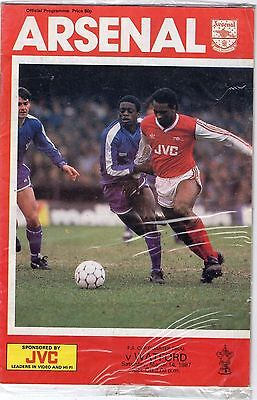 Arsenal V Watford fa cup Qtr Final programme 1986-87