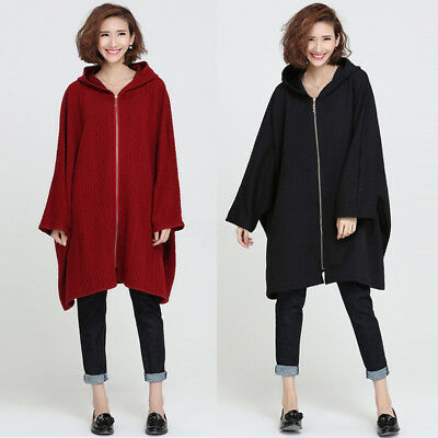 Casual Ladies Loose Oversized Batwing Sleeve Hooded Sweats Coat Outwear Cape
