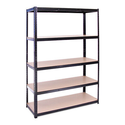 5 Tier Black Wide Metal Shelving Racking Unit 180 x 120 x 45cm Garage Warehouse