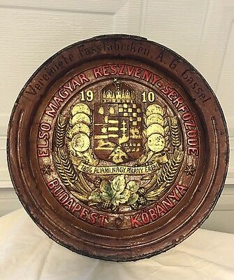 Budapest Hungarian Sign 1910 State Owned Medal Plaque Wine Barrel Sign Hungry