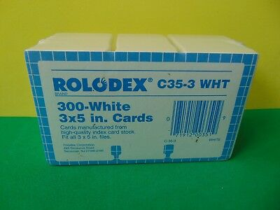 """300 Genuine Rolodex C35-3 WHT 3 x 5"""" Cards Made in USA New & Sealed"""