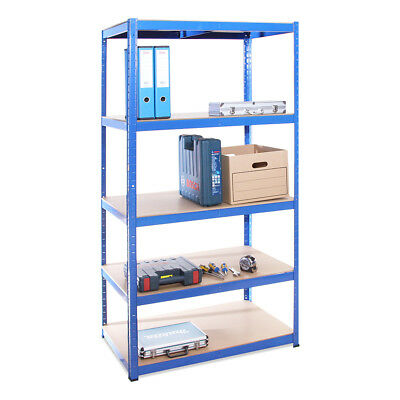 5 Tier Blue Deep Metal Shelving Racking Unit 180 x 90 x 60cm Garage Warehouse