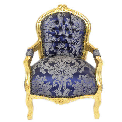 Children Baroque Style Chair Gold / Printed Blue # F11Mb45