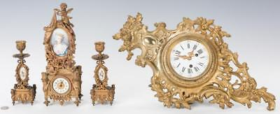 French Gilt Clock w/ 3-Pc. Gilt Bronze Garniture Set Lot 320