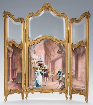 Large French Enamel, Gilt Bronze Table Screen Lot 91