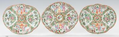 3 Chinese Rose Medallion Porcelain Dishes, Oval shapes Lot 355