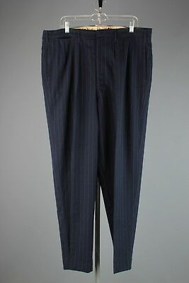 Vtg Men's 1940s Pinstripe Drop Loop Dress Slacks sz 40x32 40s Pants #4068