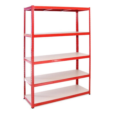 5 Tier Red Wide / Deep Metal Strong Heavy Duty Garage Racking Shelving Racking