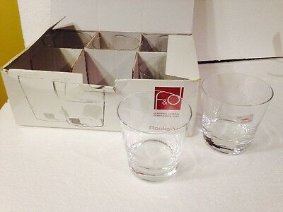 F And D On The Rocks Glasses. Six New In Box.