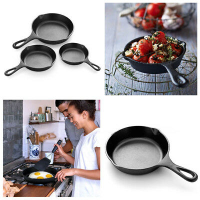 3 Piece Set Cast Iron Skillet Heavy Duty Pan Cookware Set Non Stick Cooking Gift
