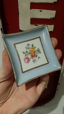 Cendrier Porcelaine Ancien Vintage Carre Dorrure Or Decor Floral Miniature