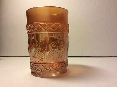 Anitque Dugan Carnival Glass Marigold Stork And Rushes Lattice Banded Tumbler
