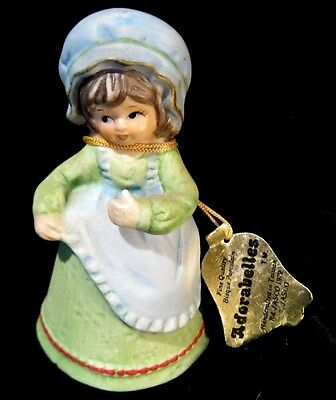 Jasco Bell-  Fine Bisque Procelain Handcrafted  Country Girl With Apron Dress