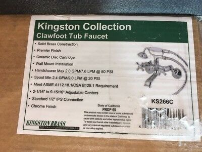 kingston Brass Victorian Wall Mount Claw foot Tub Facuet.