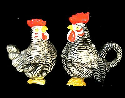 Vintage Rooster & Hen Condiment Decanters - Holds Sugar,creamer,salt & Pepper