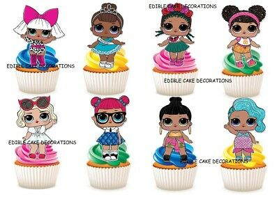 30 L.O.L Surprise Dolls LOL STAND UP Cupcake Edible Paper Cake Topper Decoration