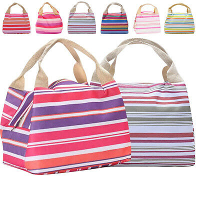 Stripe Cool Bag Lunch Box School Office Picnic Insulated Recycled Thermal Cooler