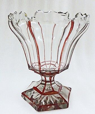 Bohemian Glass Compote Ruby And Clear Cut Taz