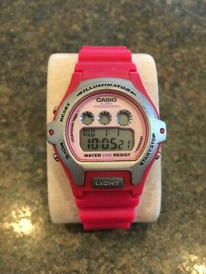 Womens Casio Illuminator Digital Watch LW-202H Water Resist Run Race Timer Pink