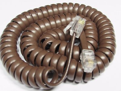 BROWN 7' Ft LONG Curly Coil Handset Phone Cord Spiral Receiver Telephone New