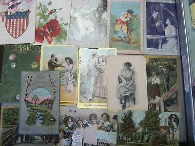 Lot of 14 Antique Post Cards 100 + Years Old