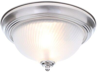 2-Light Brushed Nickel Flush Mount Ceiling Light Fixture Frosted Glass Dome NEW