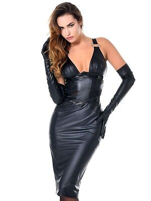 Sexy Damen Stretch Minikleid Wetlook Mini Kunstleder Kleid Stretchminikleid