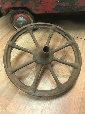Old Vintage Metal Cast Iron Wheel Industrial Yard Decor 15""