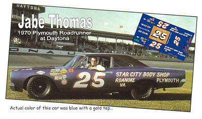 CD_989 #25 Jabe Thomas 1970 Plymouth Roadrunner  1:24 scale decals