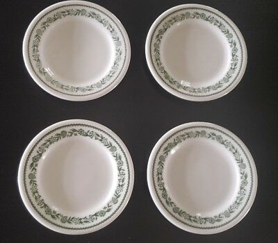 BUFFALO CHINA KENMORE GREEN FLOWERS SET of 2 ROUND Side Plates Dishes 6 1/2 inch