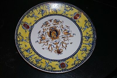 Antique Vintage  Chinese  Porcelain  Hand Painted  Yellow  Plate 10,5''  Marking