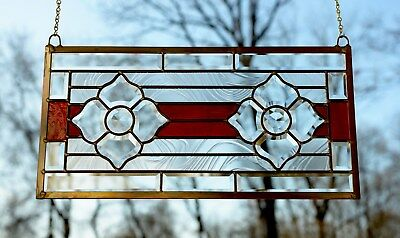 "Handcrafted stained glass red Clear Beveled flowers window panel,11"" x 22"""