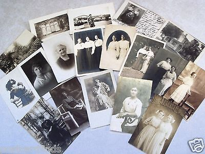 EARLY RPPC POSTCARD LOT OF 18 WOMAN FEMALE YOUNG & OLD! AZO, CYKO++ REAL PHOTO i