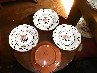 """4   STANGL COLONIAL ROSE BREAD PLATES 6 1/4"""" Top Diameter  HAND PAINTED"""