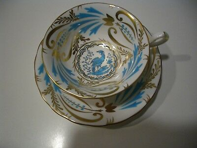 Beautiful Royal Chelsea Hand Painted Blue Bird With Gold Leaf Cup & Saucer Set