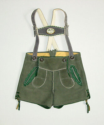 Child's Lederhosen - Loden Green with Green and Grey Accents