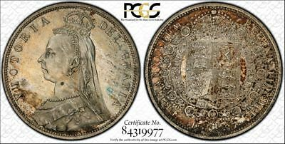 1887 1/2 Half Crown Jub Head Great Britain Coin Certified PCGS MS63 Gold Holder