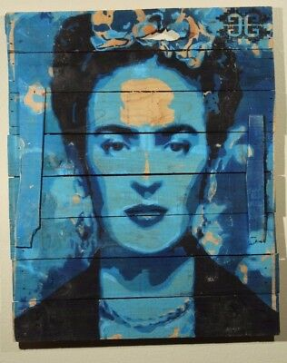 Frida Kahlo Hanging Wood Spray Painting Mexican Art Home Decor Large Blue 1