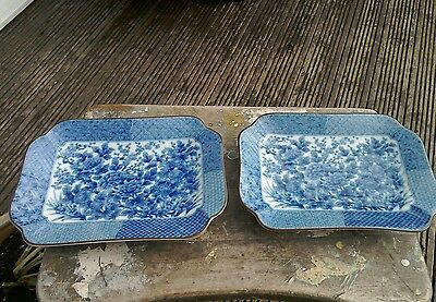 Vintage Pair Of Blue And White Oriental Dishes