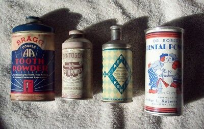 Lot of Four (4) Different Antique Dental Tooth Powder Tins (Tin)