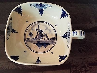 Vintage Delft Holland Square Nappy Bowl Dish with handle Blue Windmill