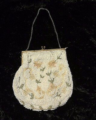 Antique made in Belgium beaded small purse with floral embroider delicate white