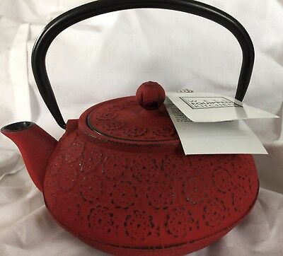 New Teapot Well Equipped Kitchen Tea Pot Infuser Red & Black Cast Iron New Box