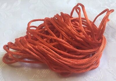 3Mx2mm Satin Jewellery Rope Cord DIY Nylon Child Safe Necklace String ORANGE